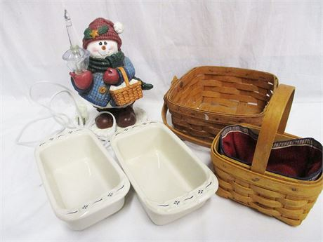 LOT OF LONGABERGER BASKETS, DECOR, AND BAKEWARE