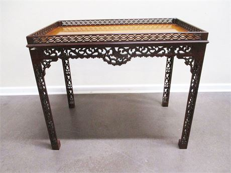 BAKER FURNITURE COLONIAL WILLIAMSBURG CARVED TRAY TABLE