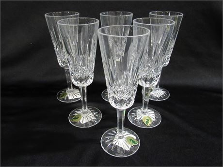 6 WATERFORD LISMORE CRYSTAL FLUTES WITH ORIGINAL STICKERS