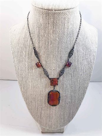 Amber Gem Stone Necklace