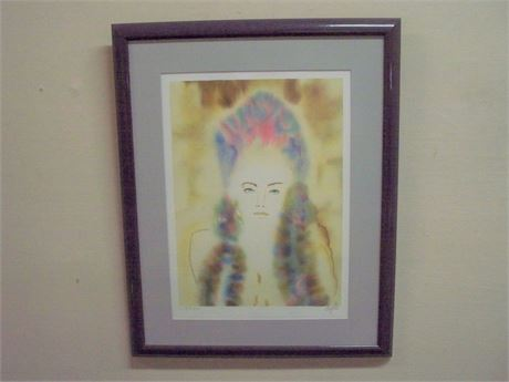 FRAMED MATTED SIGNED NUMBERED (#35/280) LITHOGRAPH - CLAUDIA - CECILE CHAPELLIER