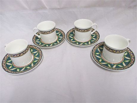 """4 SETS VILLEROY & BOCH """"PERGAMON"""" CUPS AND SAUCERS"""