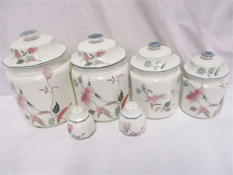 "LOT OF MIKASA ""SILK FLOWERS"" CANISTERS"