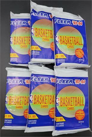 1993-94 Factory Sealed Fleer Series 1 NBA Wax Packs