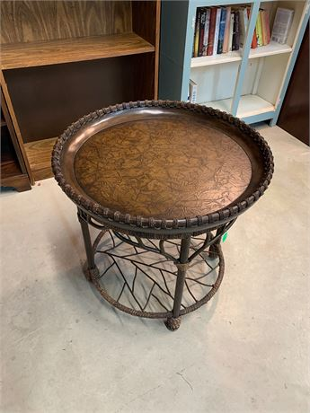 Tropical Round Wood Rope Border End Table