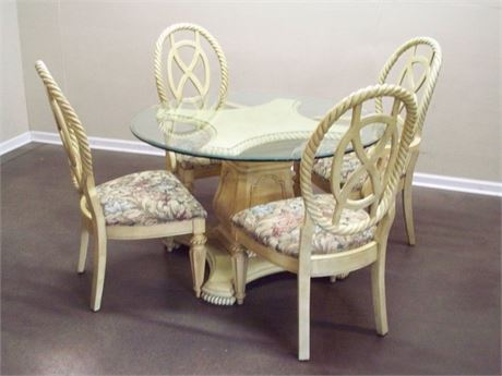 PEDESTAL DINING TABLE WITH HEAVY BEVELED GLASS TOP AND 4 CHAIRS