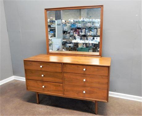 Vintage Mid Century Modern Drexel Wood Dresser with Mirror