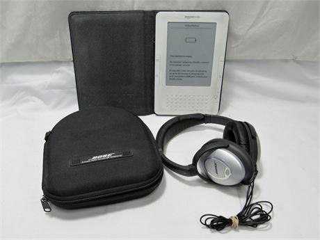 Bose Noise Cancelling Headphones and Amazon Kindle