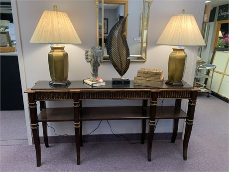 Large Console Table Wood Faux Marble Top