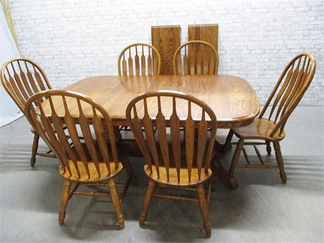 OAK DOUBLE PEDESTAL DINING TABLE AND 6 CHAIRS BY SHIN LEE