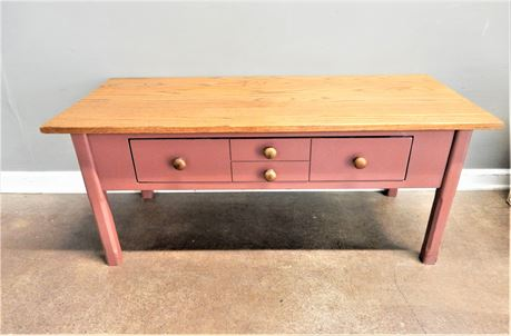 Rose Color Wood Coffee Table