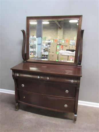 Antique 4-Drawer Empire Dresser with Beveled Glass Mirror