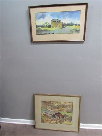 2 Vintage Framed and Matted Original Watercolors