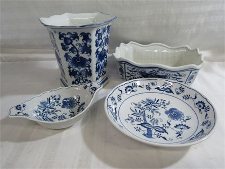 4 PIECE BLUE AND WHITE POTTERY LOT INCLUDING BLUE DANUBE