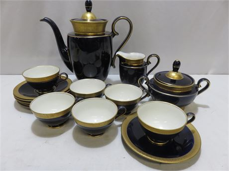 JLMENAU ECHT Cobalt 24 KT Gold Leaf 15-Piece Coffee Set - GERMANY