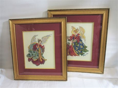 2 Framed and Matted Needlepoint Artworks - Angels
