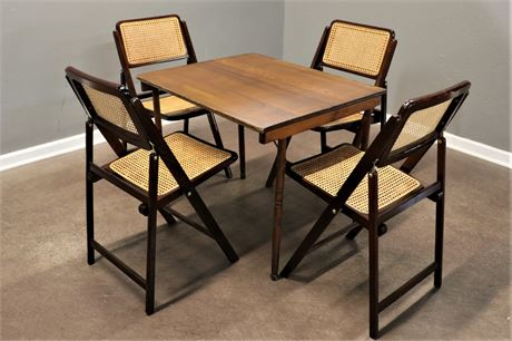Vintage Wood Table and 4 Cane Chairs