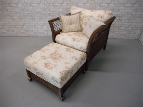 LEXINGTON CASUAL WICKER CHAIR AND OTTOMAN WITH PILLOWS