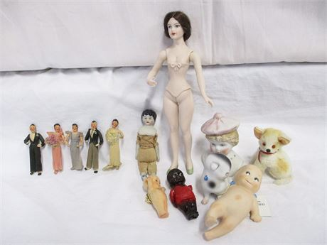 LOT OF VINTAGE PORCELAIN DOLLS AND KEWPIES FEATURING R. JOHN WRIGHT