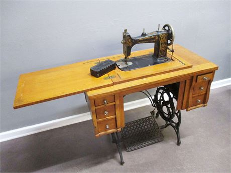 VINTAGE DAMASCUS TREADLE SEWING MACHINE WITH CABINET