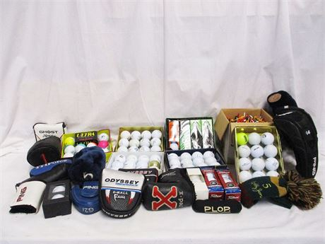 LOT OF GOLF BALLS AND ACCESSORIES FEATURING TITLEIST