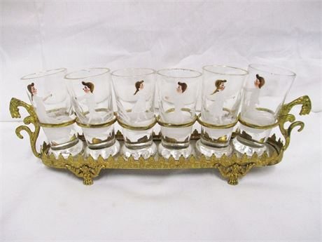 VINTAGE PAINTED SHOT GLASS SET WITH MIRRORED TRAY