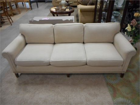 NICE 3 CUSHION BEIGE/OATMEAL COLORED SOFA