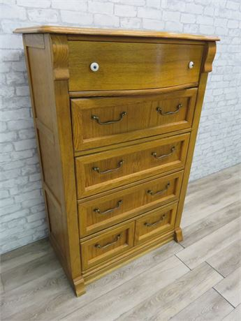 Pulaski Oak Serpentine Highboy Chest