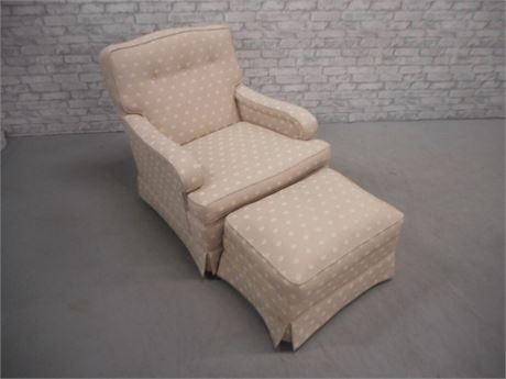 VERY NICE LANE UPHOLSTERED OCCASIONAL CHAIR AND OTTOMAN