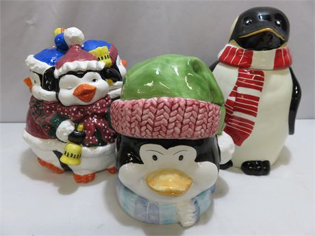 3-Piece Ceramic Penguin Cookie Jar Lot