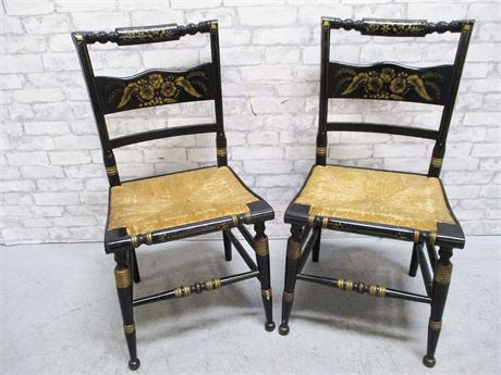 LOT OF 2 HITCHCOCK-STYLE RUSH SEAT CHAIRS