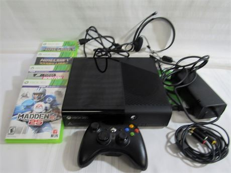 XBOX 360 E CONSOLE MODEL 1538 WITH 4 GAMES AND A CONTROLLER