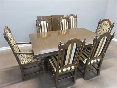 ETHAN ALLEN Tudor Style Trestle Dining Table Set