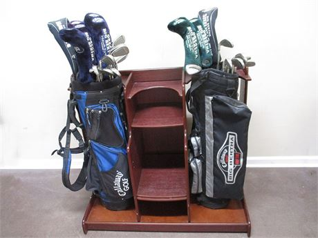 LOT OF CALLAWAY GOLF CLUBS AND BAGS WITH DISPLAY STAND