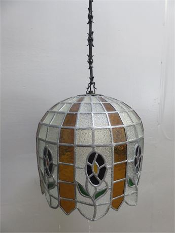 Vintage South American Handmade Tiffany Style Leaded Slag Glass Hanging Lamp