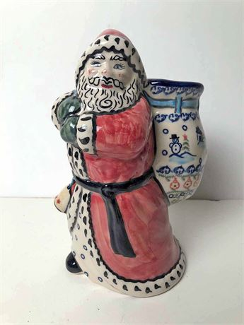 Vena Polish Pottery Santa Centerpiece Planter