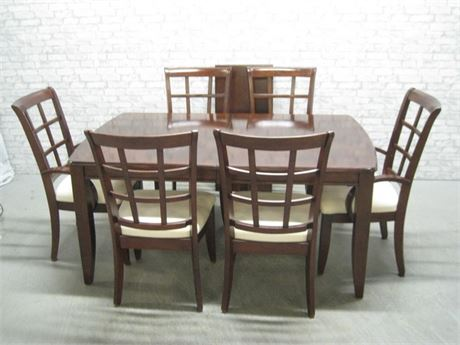 DINING TABLE WITH 1 LEAF AND 6 CHAIRS