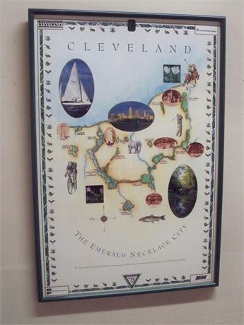 FRAMED MAP/POSTER - THE CLEVELAND EMERALD NECKLACE CITY