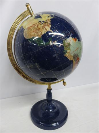 "Blue Lapis Gemstone 14"" World Globe"