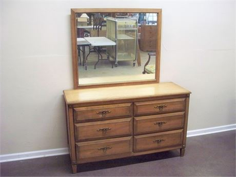 VINTAGE RWAY FURNITURE DRESSER WITH MIRROR