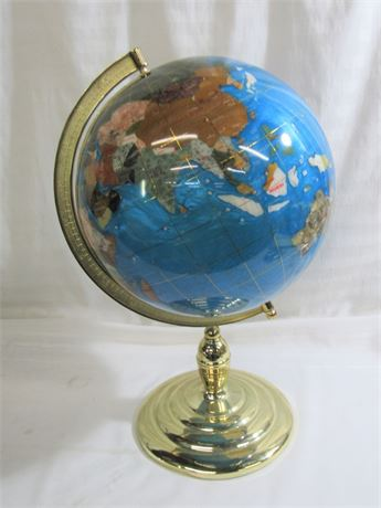 LARGE GLOBE WITH BRASS PLATED BASE