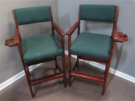 2 AMF Play Master Bar Stools with Cue and Drink Holders
