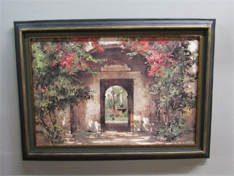 Framed Faux Oil On Board - Flowered Doorway of Resurgam - Cyrus Afsary