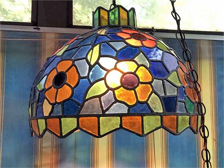 Faux Stained Glass Ceiling Fixture