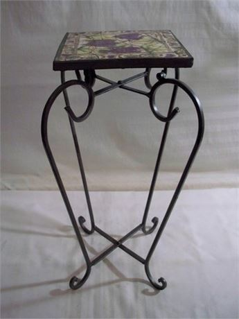 SMALL FOLDING WROUGHT IRON MOSAIC TILE TOP TABLE