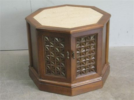 OCTAGON END TABLE WITH MARBLE TOP