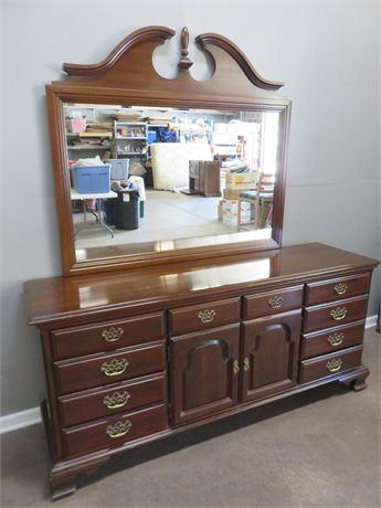 STERLINGWORTH CORP. Cherry Triple Dresser & Mirror