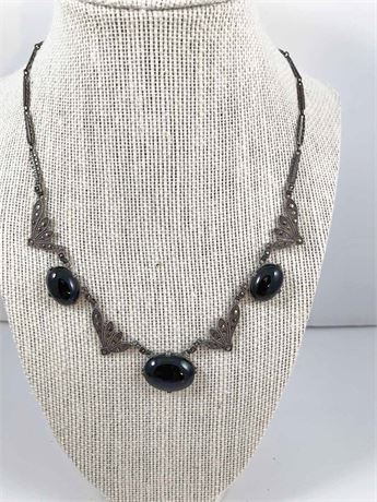 Sterling Silver & Obsidian Stone Necklace