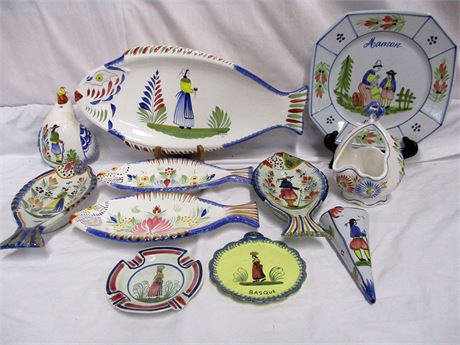 LOT OF QUIMPER FAIENCE POTTERY