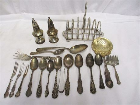 LOT OF VINTAGE METAL - SOME MIXED STERLING